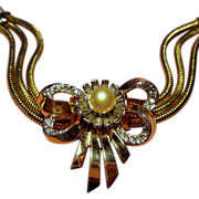 Vintage Mazer Rhinestone Bow Bracelet Simulated Pearl