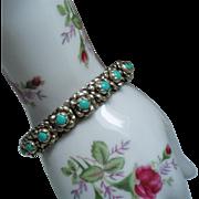 Vintage Mexico Faux Turquoise Flower Cuff Bracelet