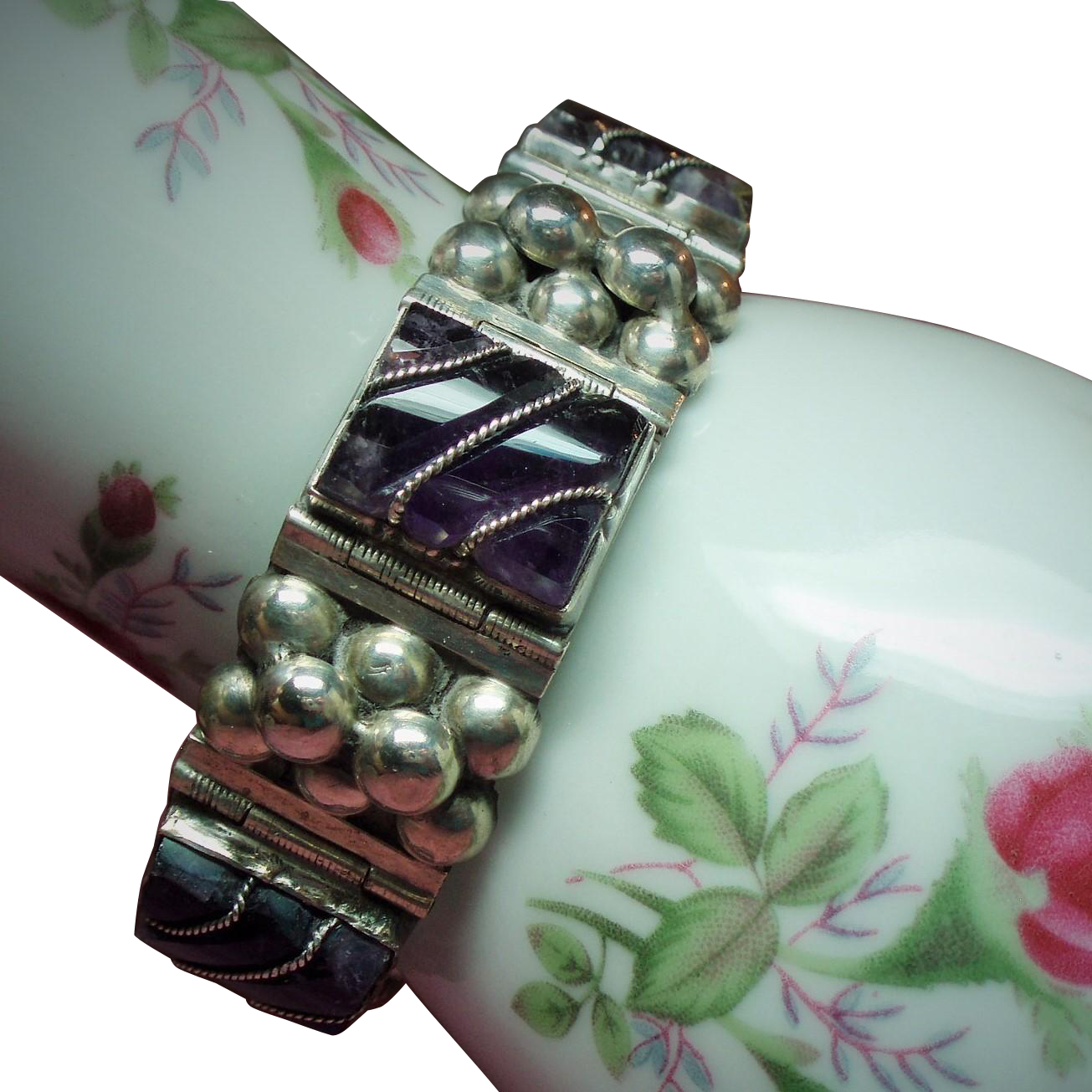 Vintage Mexico Square Link Amethyst & Raised Bead Sterling Bracelet