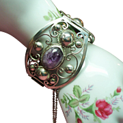 Vintage Mexico Amethyst Cabochon Stone Huge Wide Sterling Hinged Cuff Bracelet
