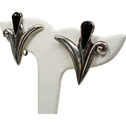 Vintage Sterling Taxco Mexico Black Onyx Stylized Tulip Earrings
