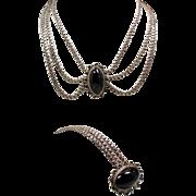 Vintage Mexican Sterling Obsidian Dramatic Festoon Style Necklace Bracelet Set