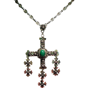 Vintage Mexico Sterling Yalalag Wedding Cross Pendant Necklace