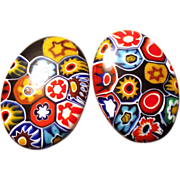 Vintage Italian Millefiore Oval Disc Shaped Earrings