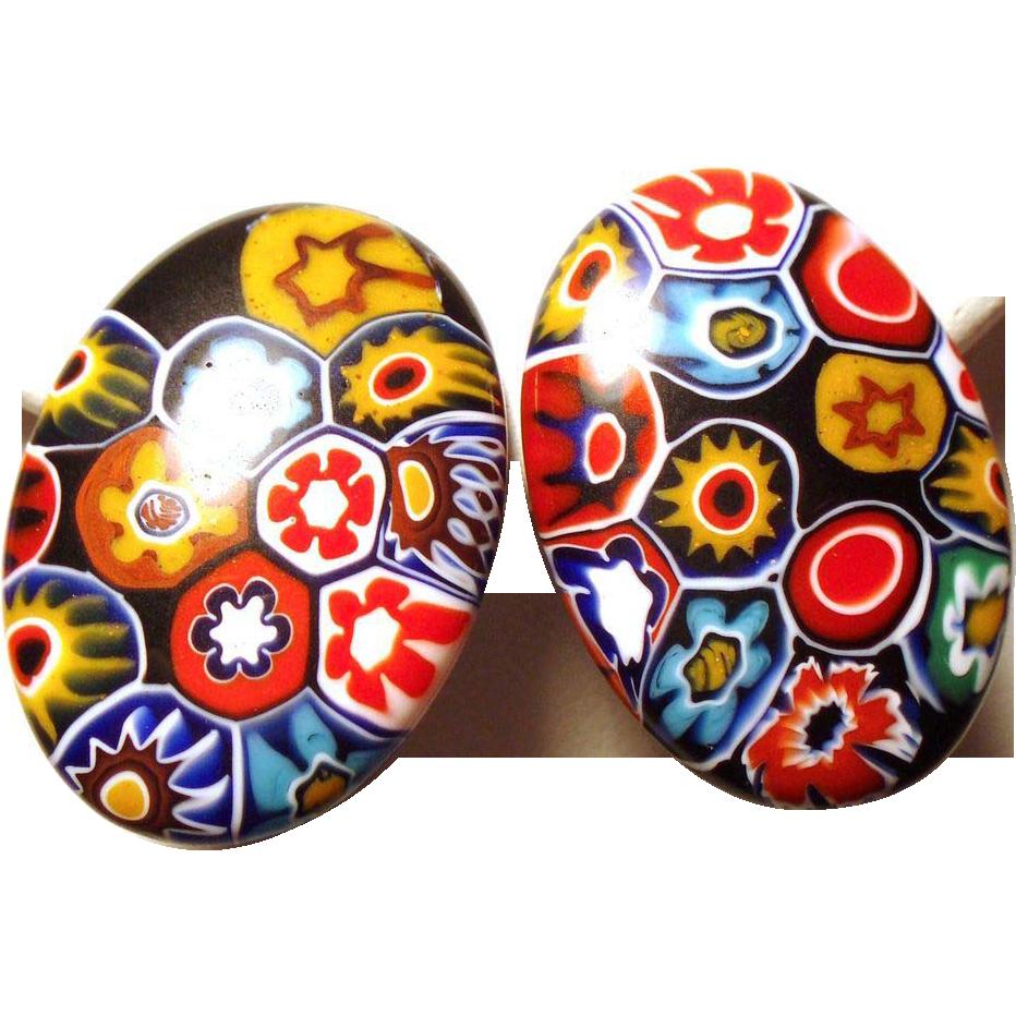 Vintage Italian Millefiore Oval Disc Shaped Earrings