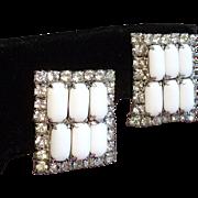 Vintage White Milk Glass Rhinestone Large Rectangular Earrings