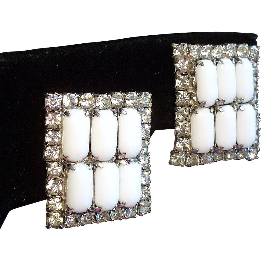 Vintage White Milk Glass Rhinestone Large Rectangular Earrings