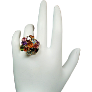 Vintage Brazilian Multi Gemstone 14K Gold Cocktail Ring