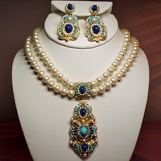 Vintage Mogul Style Faux Pearls Turquoise Lapis Rhinestones Pendant Necklace Drop Earrings Demi Parure