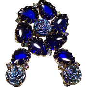 Vintage Cobalt Blue Cabochon Molded Iridescent Glass Roses Brooch Earrings Set
