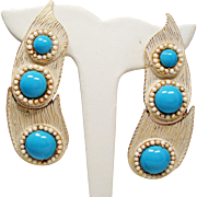 Vintage Mosell Simulated Turquoise White Bark Extra Long Hinged Earrings