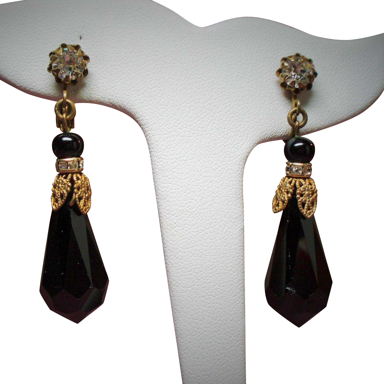 Vintage Miriam Haskell Faceted Black Glass Prism Long Drop Earrings