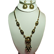 Vintage Miriam Haskell Faux Pearls Tufted Flower Drippy Necklace Earrings Set
