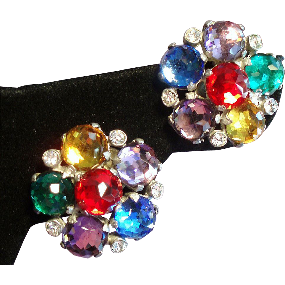 Vintage Jewel Colored Rauten Rose Cut Rhinestone Cluster Earrings