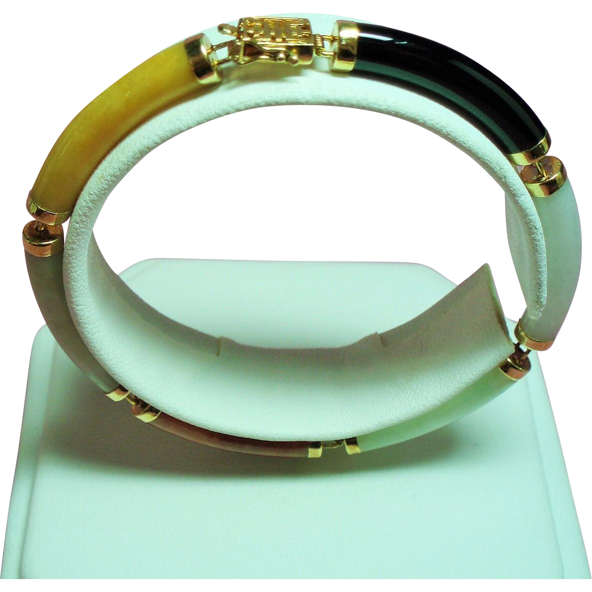 Vintage Chinese Multiple Color Jade Curved Link 14K Bracelet