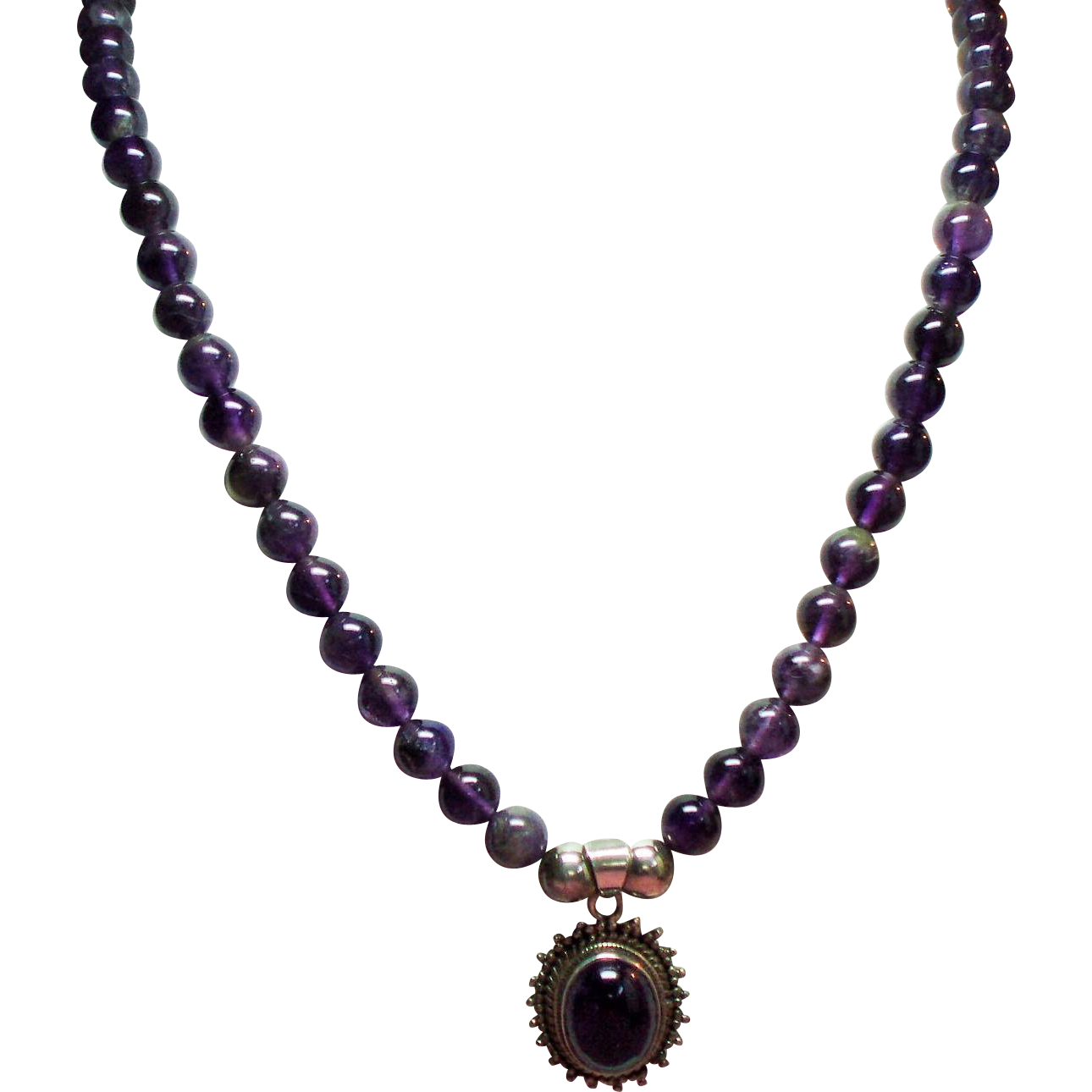 Vintage Sterling Native American Natural Amethyst Bead Necklace Cabochon Pendant