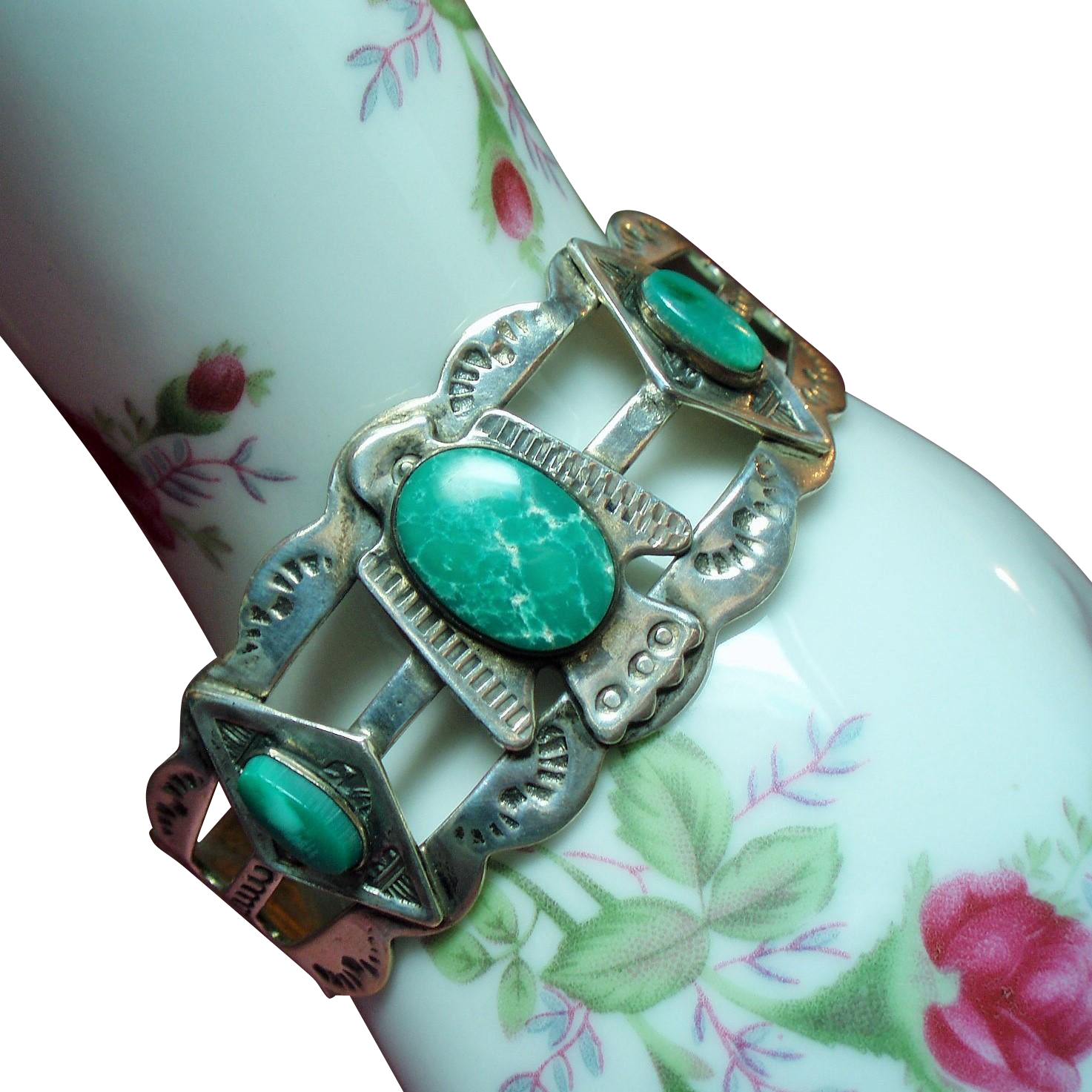 Vintage Fred Harvey Era Turquoise Thunderbird Sterling Cuff Bracelet