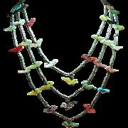 Vintage Native American Mother Pearl Carved Bird Triple Strand Fetish Sterling Necklace
