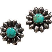 Vintage Native American Sterling Turquoise Flower Earrings
