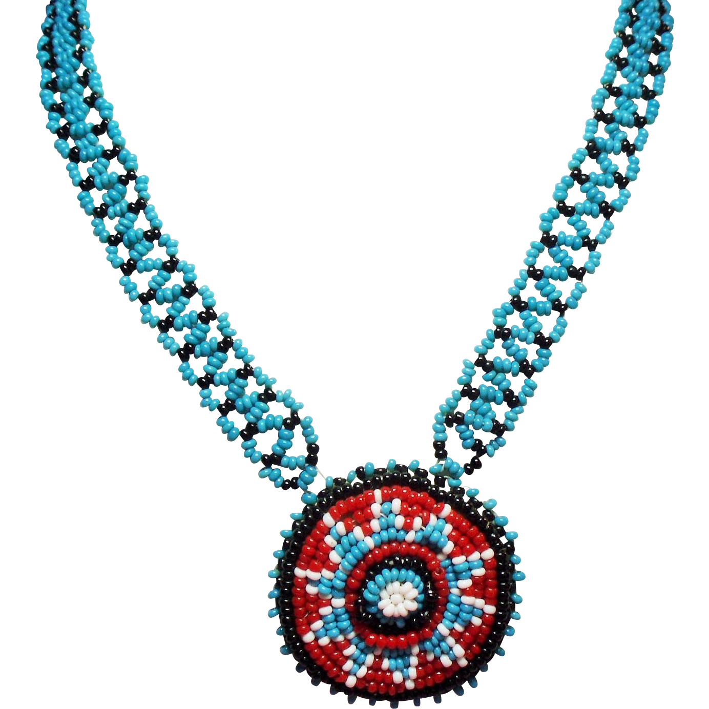Vintage Native American Turquoise Glass Seed Bead Long Necklace Round Pendant