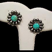 Vintage Native American Sterling Turquoise Flower Earrings