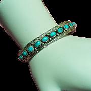 Vintage Native American Turquoise Sterling Slim Cuff Bracelet