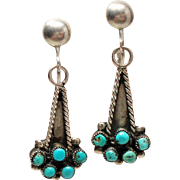 Vintage Native American Turquoise Sterling Screw Back Drop Earrings
