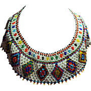 Vintage Native American Colorful Glass Seed Bead Wide Collar Necklace