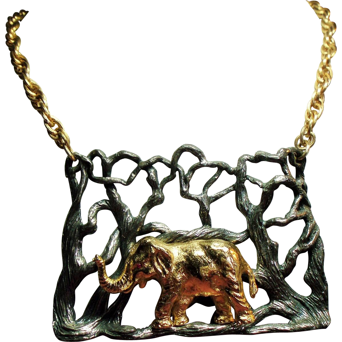 Vintage Eugene Bertolli Napier Endangered Species Elephant Necklace