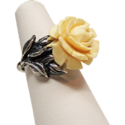 Vintage Napier Faux Ivory Rose Adjustable Sterling Ring