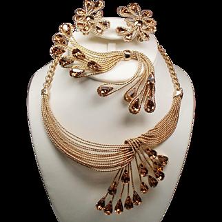 Vintage Napier Runway Draped Necklace Cascading Topaz Rhinestones Earrings Brooch Parure
