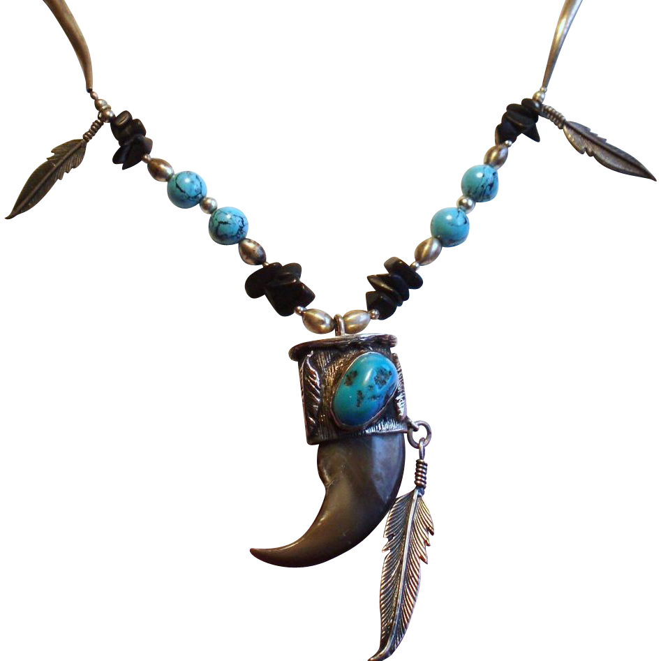 Vintage Native American Turquoise & Claw Sterling Pendant Necklace