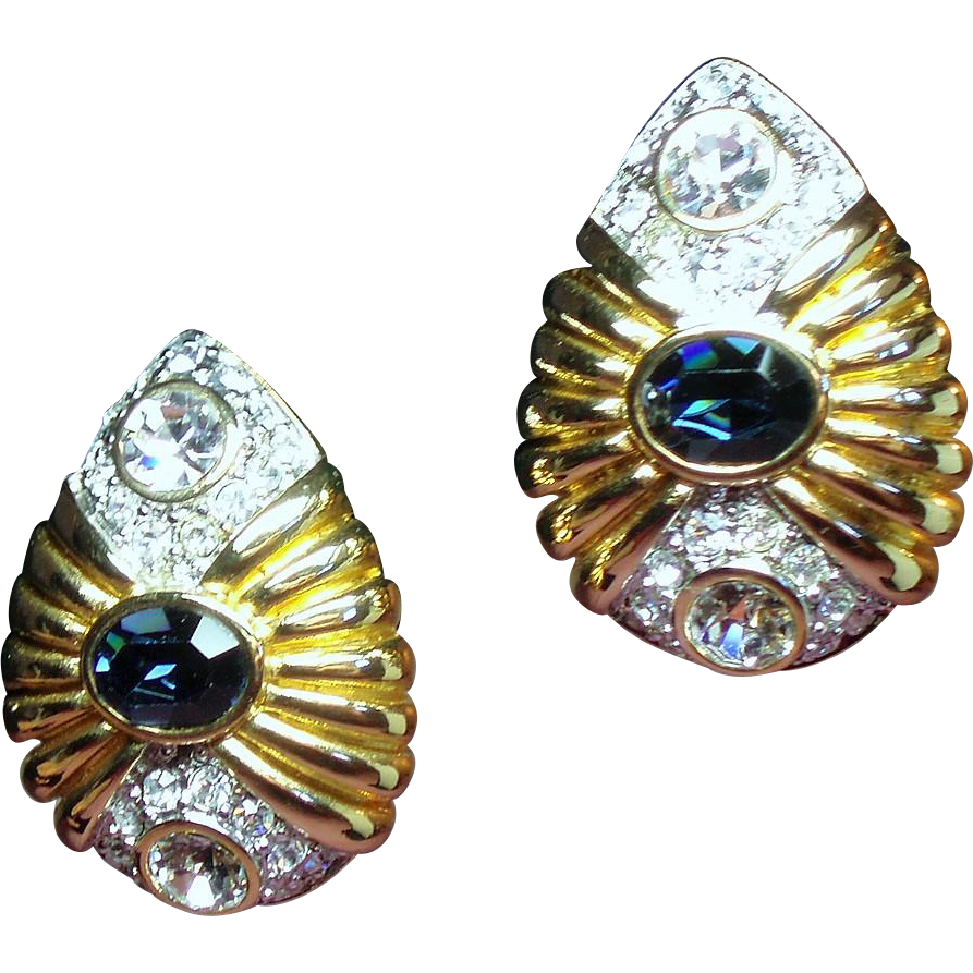 Vintage Nolan Miller Bezel Set Faux Sapphire Rhinestone Earrings