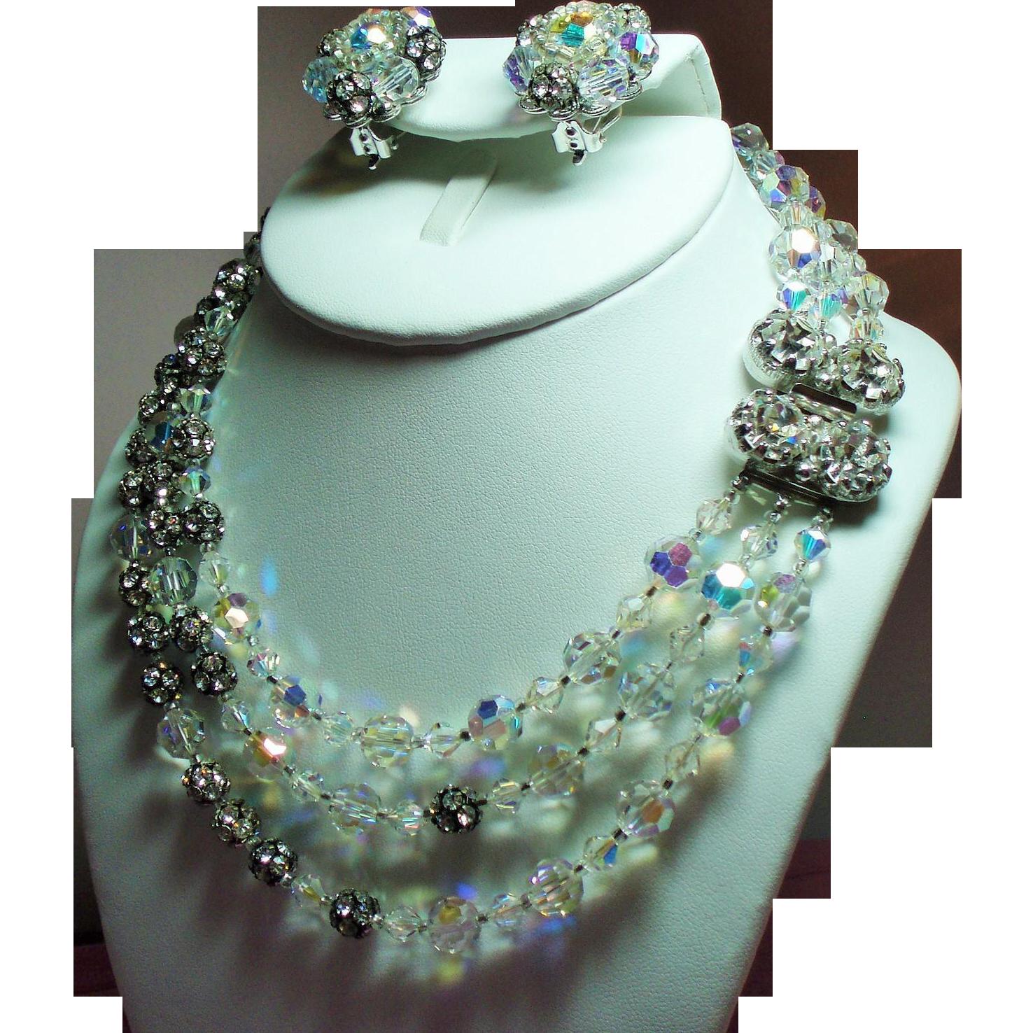 Vintage Original By Robert Crystal Bead Rhinestone Ball Triple Strand Necklace & Earrings Set