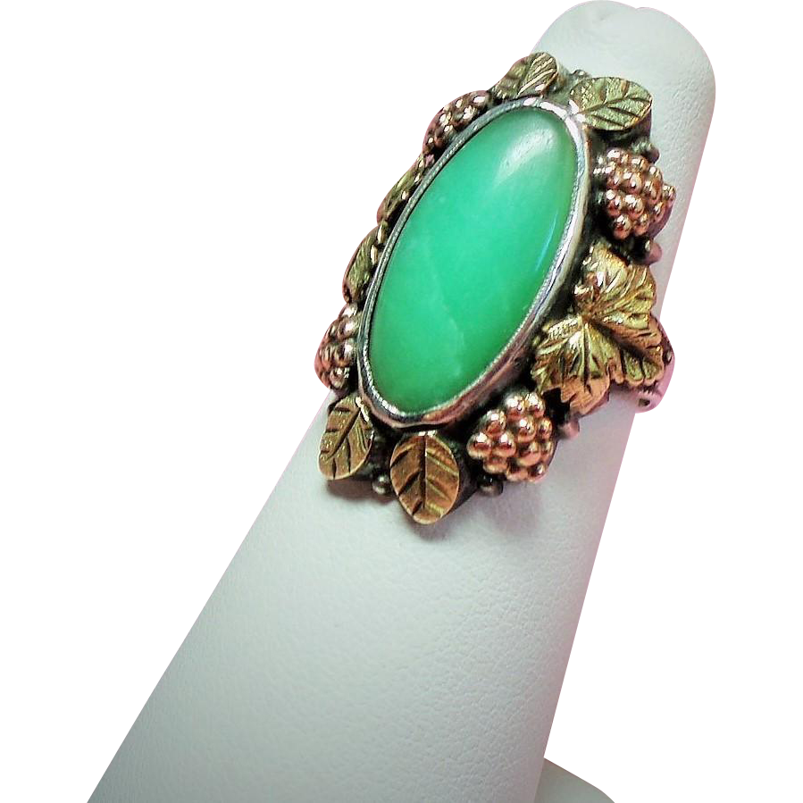 Antique Arts & Crafts Otsby and Barton Aventurine Gold Sterling Ring