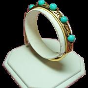 Vintage Panetta Simulated Turquoise Bead Hinged Bangle Bracelet