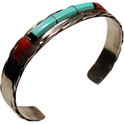 Vintage Panteah Native American Zuni Turquoise Coral Sterling Cuff Bracelet