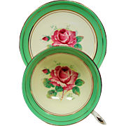 Vintage Paragon England Pink Roses Spring Green Tea Cup & Saucer