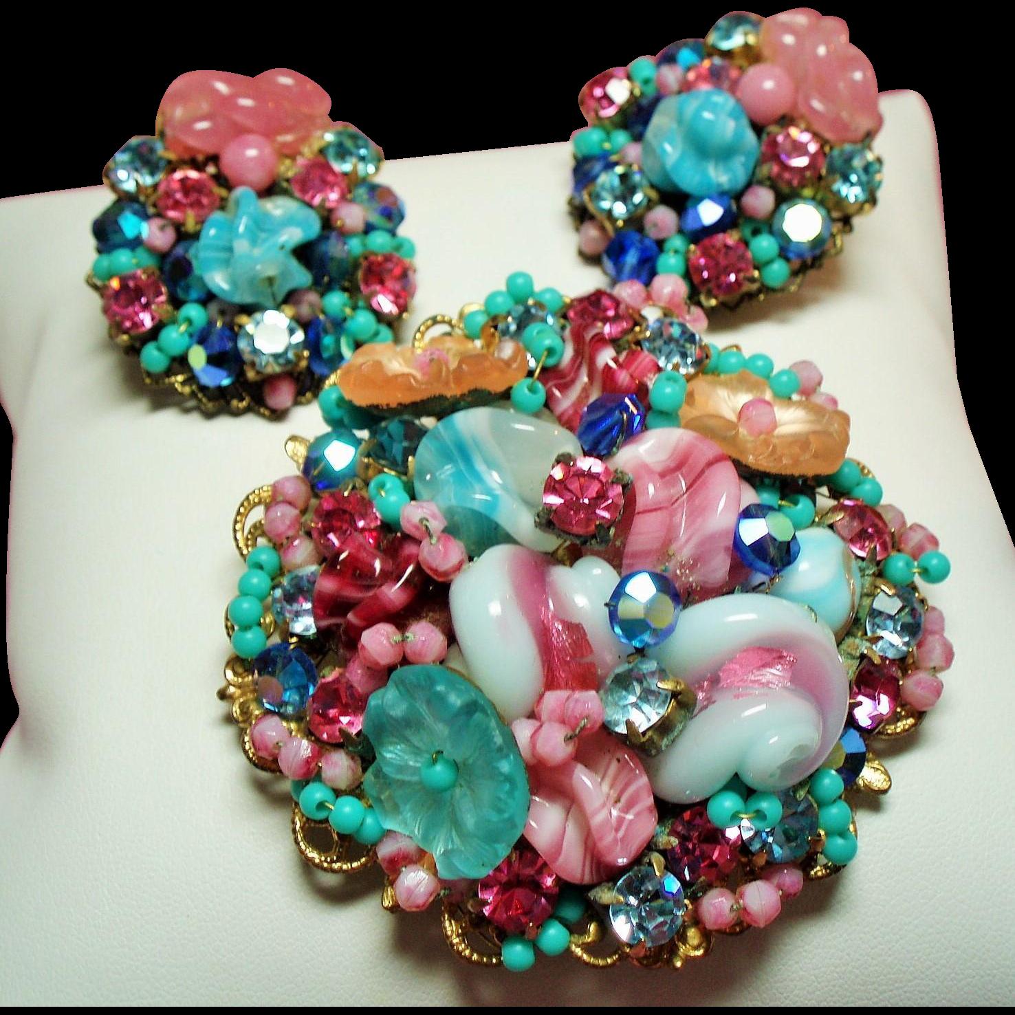 Vintage Sorbet Pate De Verre Glass Rhinestone Hand Wired Brooch Earrings Demi Parure