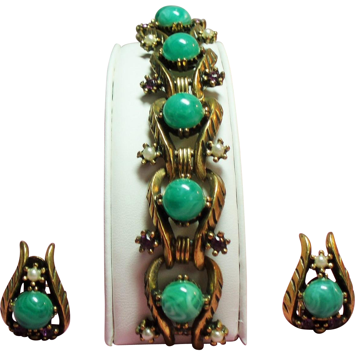 Vintage Peking Green Lucite Faux Pearl Purple Rhinestone Bracelet Earrings Demi Parure