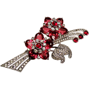 Vintage Pennino Ruby Red Cabochon Diamante Rhinestone Spray Brooch
