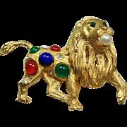 Vintage Pierre Balmain Paris Cabochon Stone Lion Brooch
