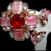 Vintage Red Pink Givre Rhinestone Maltese Cross Brooch Earrings Set