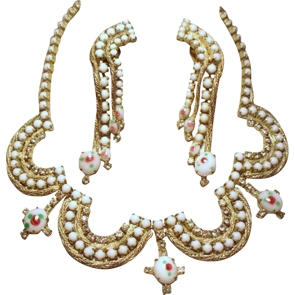 Vintage Hand Painted White Milk Glass Rhinestone Swag Collar Necklace Long Cascading Earrings Demi Parure