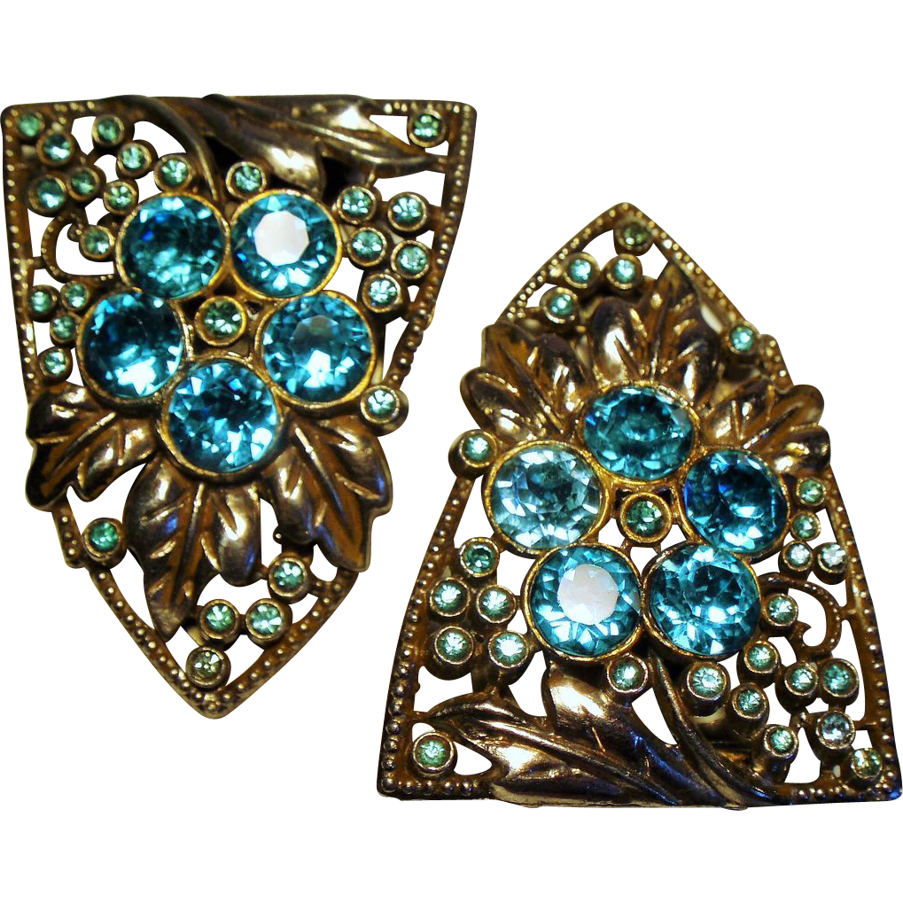 Vintage Art Deco Pair Dress Clips Zircon Blue Rhinestones