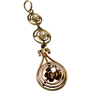 Antique Edwardian Diamond River Pearl 10K Lavalier Pendant