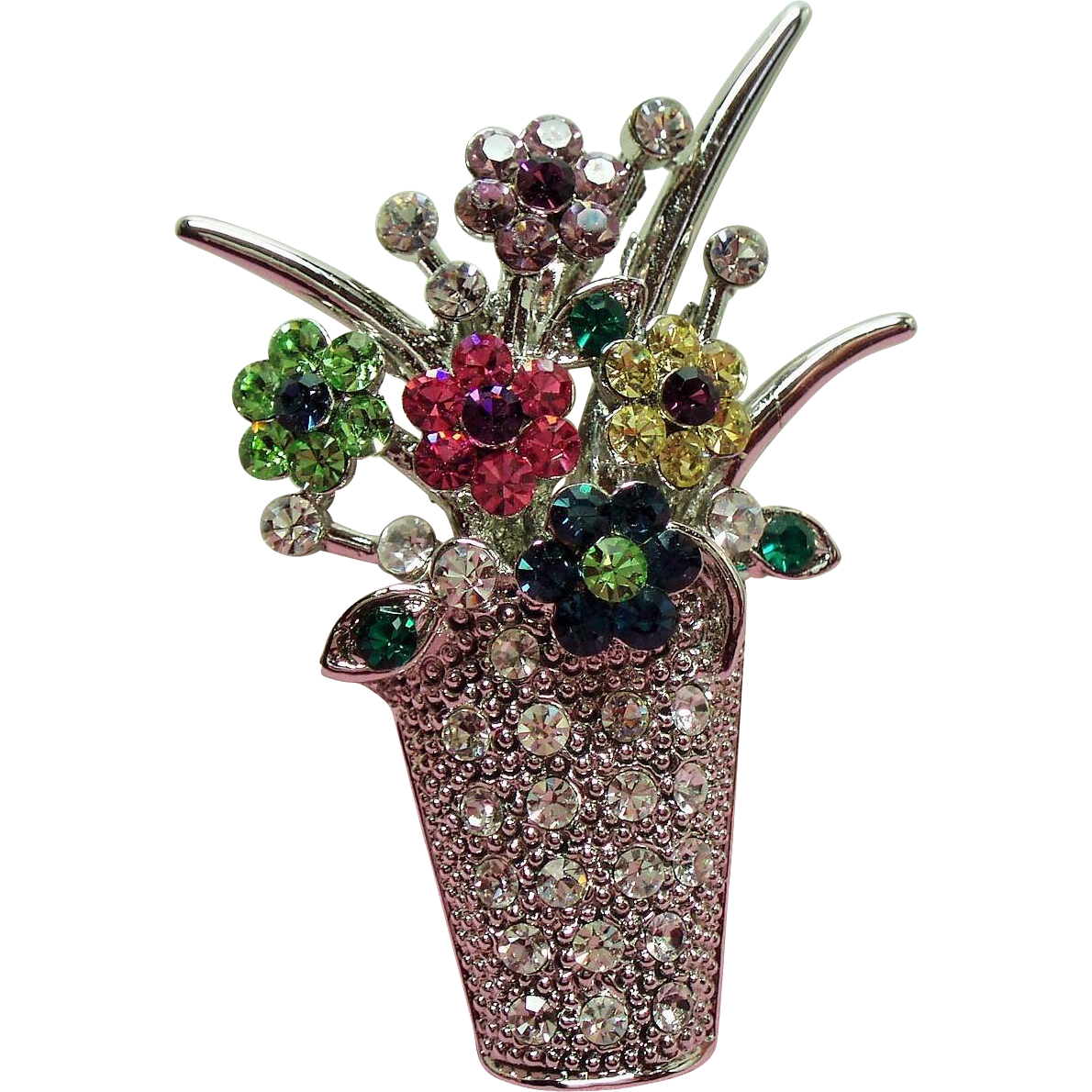 Vintage Petite Flower Pot Rhinestone Pin