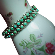 Vintage Native American Petit Point Turquoise Double Row Sterling Cuff Bracelet
