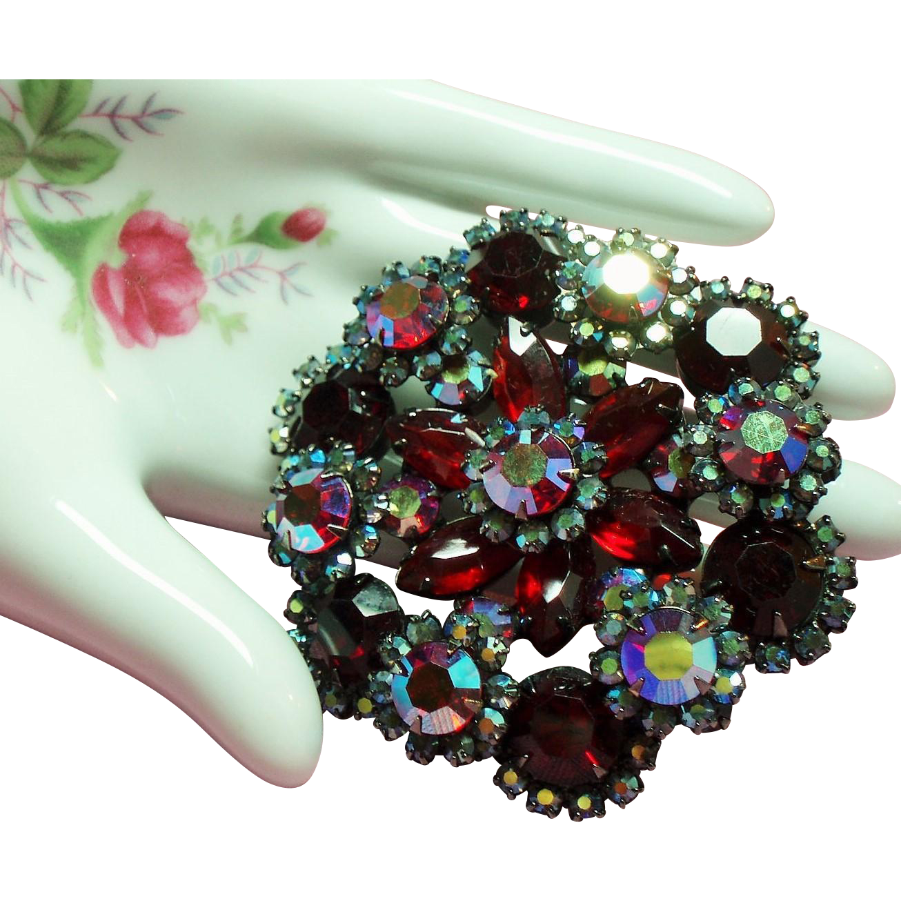 Vintage D&E Juliana Ravishing Red Rhinestone Dimensional Brooch