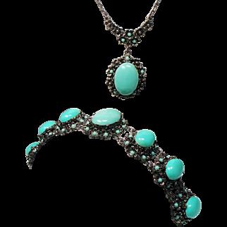 Vintage Huge Robins Egg Blue Cabochon Pendant Necklace Bracelet Set